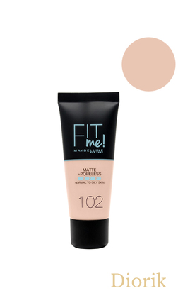 Maybelline Fit Me Matte Poreless Foundation Тональный крем 102